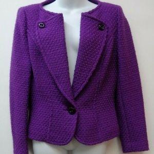 Escada 38 Purple Womens Jacket Blazer 95% Wool